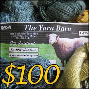 The Yarn Barn LLC: $100 E-CARD GIFT CERTIFICATE for The Yarn