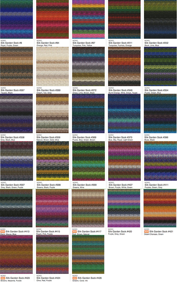 Fiber Content: 40% Lambswool, 25% Silk, 25% Nylon, 10% Kid Mohair Stitches: 6.5 per inch. Needle Size: 3 330 yds per 100g skeins